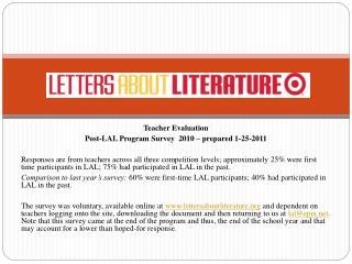 Teacher Evaluation  Post-LAL Program Survey  2010 – prepared 1-25-2011