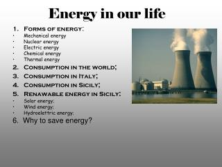 Energy in our life