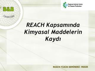 REACH  Kapsamında Kimyasal  M addelerin  K aydı