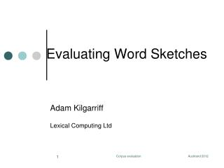 Evaluating Word Sketches