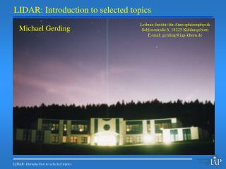 LIDAR: Introduction to selected topics