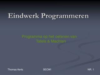 Eindwerk Programmeren