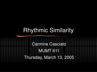 Rhythmic Similarity