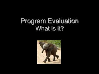 Program Evaluation What is it