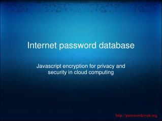 Internet password database