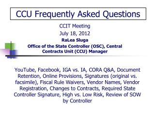 CCIT Meeting July 18, 2012 RaLea Sluga