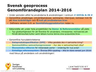 Svensk geoprocess Genomförandeplan 2014-2016