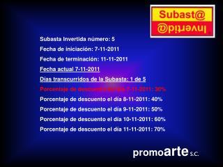 Subasta Invertida número: 5 Fecha de iniciación: 7-11-2011 Fecha de terminación: 11-11-2011