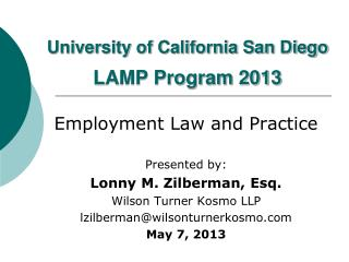University of California San Diego  LAMP Program 2013