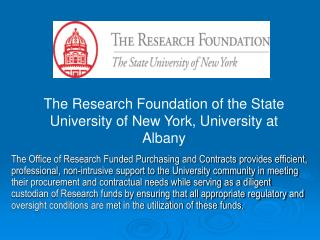 The Research Foundation of the State University of New York, University at Albany
