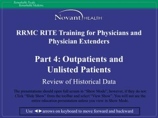 RRMC RITE Training for Physicians and Physician Extenders Part 4: Outpatients and