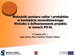 15 kwietnia 2011 r.  Alicja Kuźniar, Biuro Projektów Transferu Wiedzy