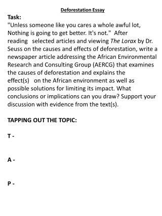 Deforestation Essay Task:
