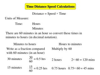 Time Distance Speed Calculations