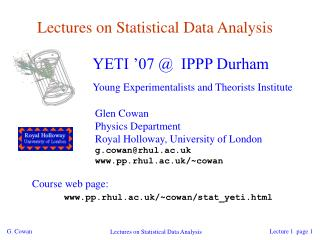 Lectures on Statistical Data Analysis