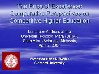 The Price of Excellence: Comparative Perspectives on Competitive Higher Education