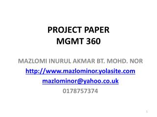 PROJECT PAPER  MGMT 360