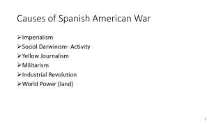 Causes of Spanish American War