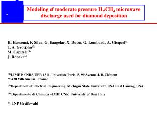 Modeling of moderate pressure H 2 /CH 4  microwave discharge used for diamond deposition