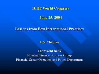 IUHF World Congress June 25, 2004