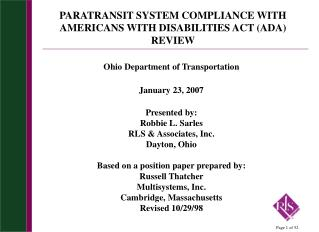 PARATRANSIT SYSTEM COMPLIANCE WITH AMERICANS WITH DISABILITIES ACT (ADA) REVIEW