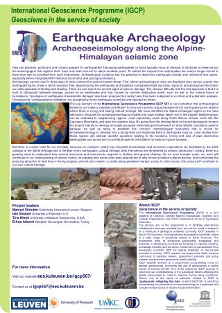 International Geoscience Programme (IGCP) Geoscience in the service of society