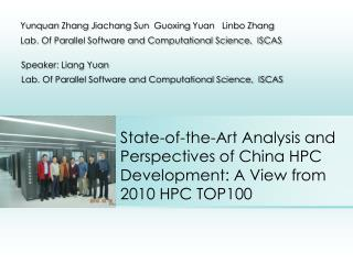 State-of-the-Art Analysis and Perspectives of China HPC Development: A View from 2010 HPC TOP100