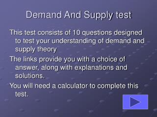 Demand And Supply test