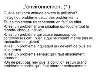 L'environnement (1)