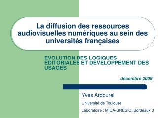 La diffusion des ressources audiovisuelles numériques au sein des universités françaises