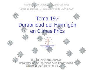 Tema 19.-  Durabilidad del Hormigón  en Climas Fríos