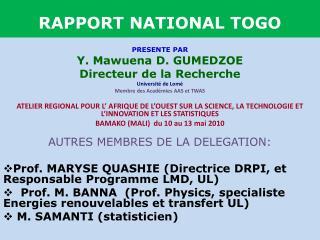 RAPPORT NATIONAL TOGO
