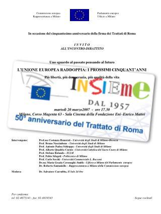 Commissione europeaParlamento europeo Rappresentanza a Milano Ufficio a Milano