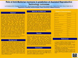 Role of Anti-Mullerian hormone in prediction of Assisted Reproductive Technology outcomes
