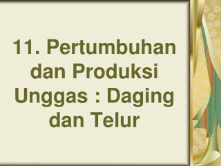 11.  Pertumbuhan dan Produksi Unggas : Daging dan Telur