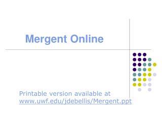 Mergent Online