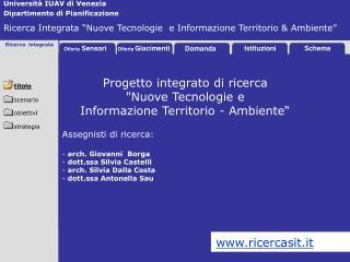 Università IUAV di Venezia Dipartimento di Pianificazione