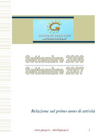 Settembre 2006 Settembre 2007