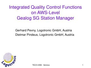 Integrated Quality Control Functions on AWS-Level Gealog SG Station Manager