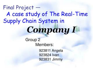 Final Project A case study of The Real-Time Supply Chain System in Company I