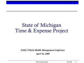 State of Michigan Time & Expense Project