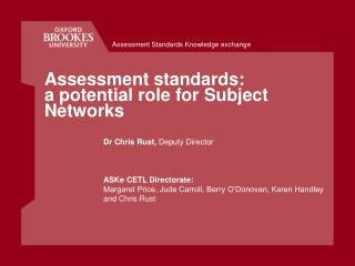 Assessment standards: a potential role for Subject Networks