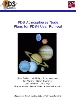 PDS Atmospheres Node  Plans for PDS4 User Roll-out