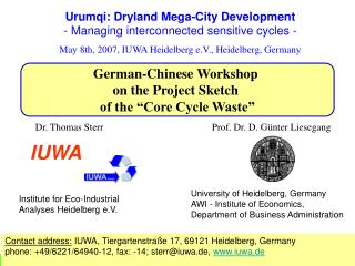 "German-Chinese Workshop  on the Project Sketch  of the ""Core Cycle Waste"""