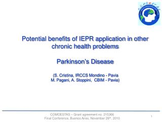 Potential benefits of IEPR application in other chronic health problems Parkinson's Disease