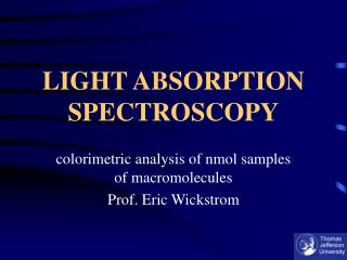 LIGHT ABSORPTION SPECTROSCOPY