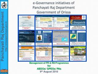 e-Governance initiatives of  Panchayati  Raj Department  Government of Orissa