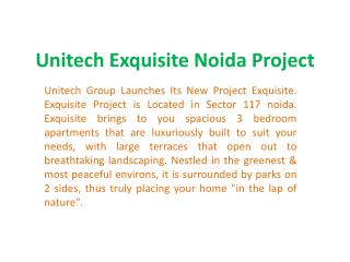 Unitech Exquisite @9899303232- Exquisite Project Location