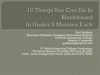 10 Things You Can Do In Blackboard In Under 5 Minutes Each