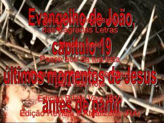 Evangelho de João, capítulo 19 últimos momentos de Jesus  antes de partir